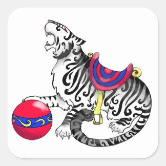 Carousel Tiger Square Sticker or Seal