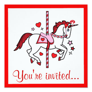 Carousel Unicorn Valentine's Day Party Card