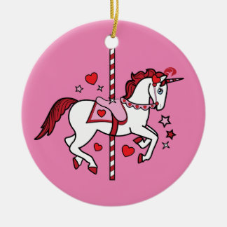 Carousel Unicorn with Hearts Double-Sided Ceramic Round Christmas Ornament