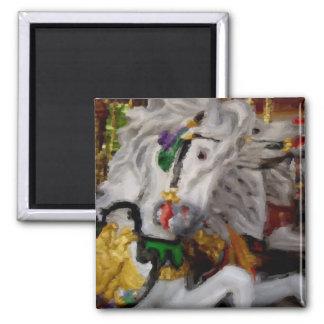 Carousel white horse pastel drawing magnet