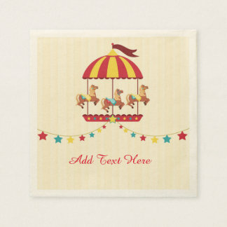 Carousel with Star Bunting Standard Cocktail Napkin