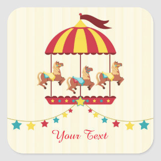 Carousel with Star Bunting Square Sticker