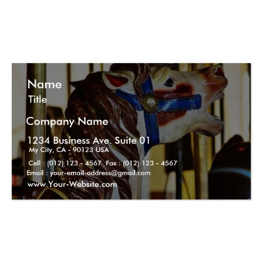 Carousels Horses Rides Amusement Parks Business Card Template