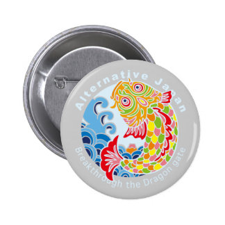 Carp and Wave Pinback Button