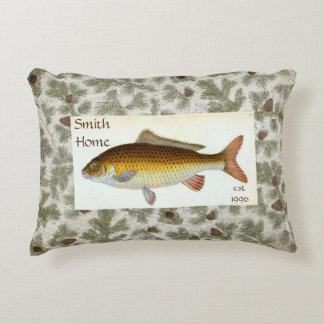 Carp Fish Pinecones Throw Pillow