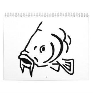 Carp head fish calendar