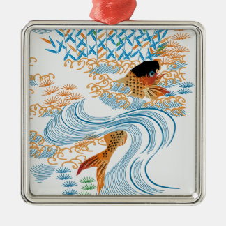 Carp swim in the COOL in the pond Metal Ornament
