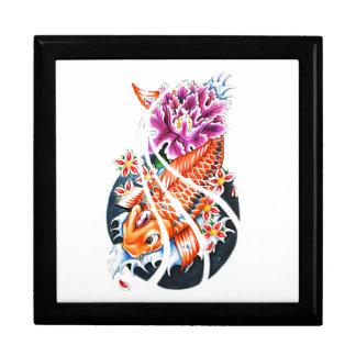 Carpa anaranjada japonesa oriental fresca Lotus de Caja De Joyas