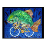 Carpa en una bicicleta tarjetas postales