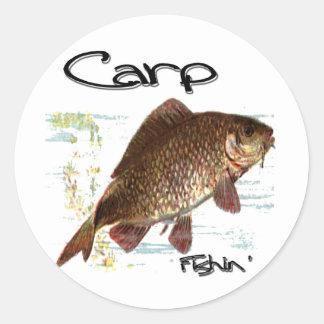 Carpa Fishin Pegatinas Redondas