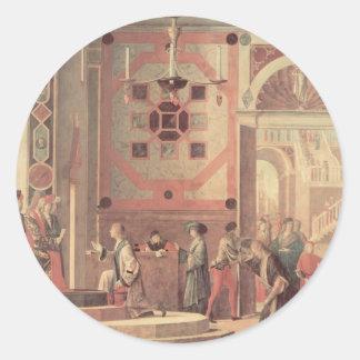 Carpaccio-Salida de Vittore de embajadores Pegatina Redonda