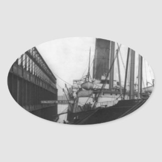 Carpathia in dock in New York 1912 Oval Sticker