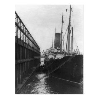 Carpathia in dock in New York 1912 Postcard