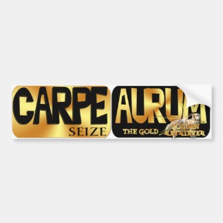 CARPE AURUM  LATIN SEIZE THE GOLD GOLDEN RETRIEVER BUMPER STICKER
