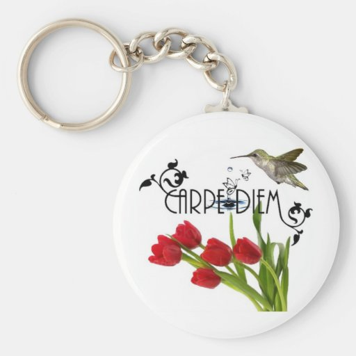 carpe diem basic round button keychain