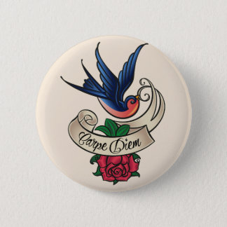 Carpe Diem Bluebird Tattoo Button