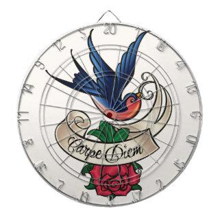 Carpe Diem Bluebird Tattoo Dart Board