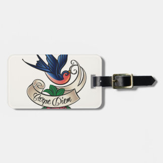 Carpe Diem Bluebird Tattoo Luggage Tag