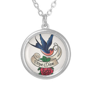 Carpe Diem Bluebird Tattoo Silver Plated Necklace