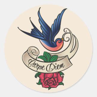 Carpe Diem Bluebird Tattoo Classic Round Sticker