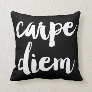 Carpe Diem Brush Typography Statement Pillow