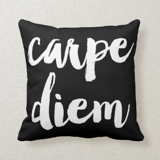 Carpe Diem Brush Typography Statement Pillow