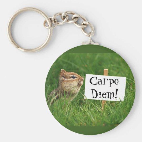 Carpe Diem! Chipmunk with Sign Keychain