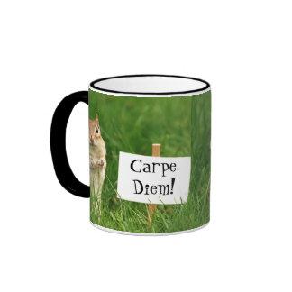 Carpe Diem! Chipmunk with Sign Ringer Mug