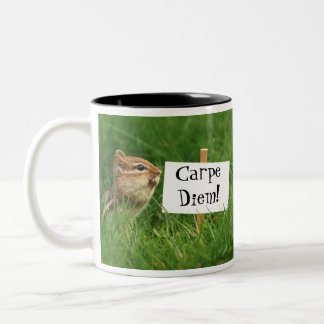Carpe Diem! Chipmunk with Sign Two-Tone Coffee Mug