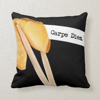 Carpe Diem Fortune Cookie Throw Pillow