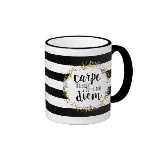 carpe diem funny inspirating typography quote ringer mug zazzle