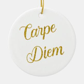 Carpe Diem Gold Faux Glitter Metallic Sequins Ceramic Ornament