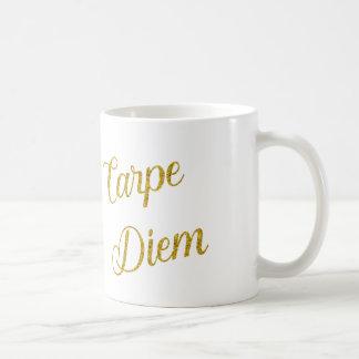 Carpe Diem Gold Faux Glitter Metallic Sequins Coffee Mug