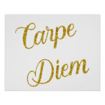 Carpe Diem Gold Faux Glitter Metallic Sequins Poster