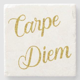 Carpe Diem Gold Faux Glitter Metallic Sequins Stone Coaster