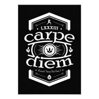 Carpe Diem - invite a la tarjeta - negro Comunicados
