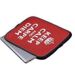 Neoprene Laptop Sleeve 10 inch with Keep Calm and Carpe Diem design