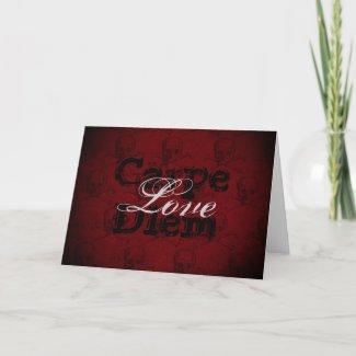 Carpe Diem Love Skull n Crossbones Valentine's Day Holiday Card