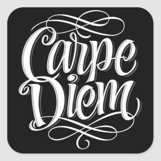 Carpe Diem Motivational Typography Square Sticker