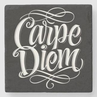 Carpe Diem Motivational Typography Stone Coaster