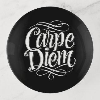 Carpe Diem Motivational Typography Trinket Trays