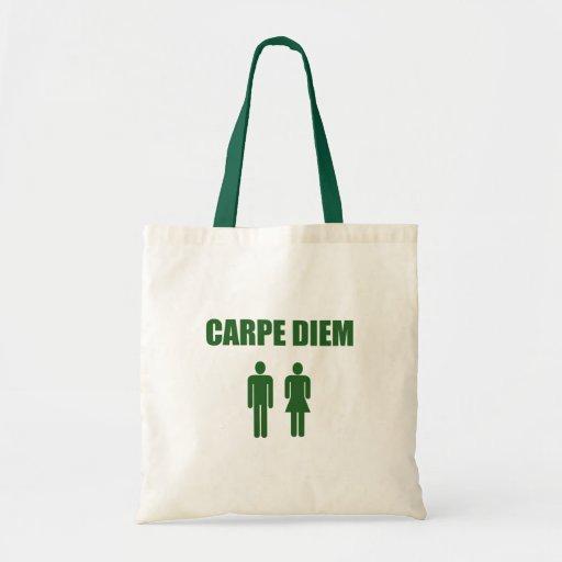 Carpe Diem (muchacho y chica verdes del texto) Bolsa Tela Barata