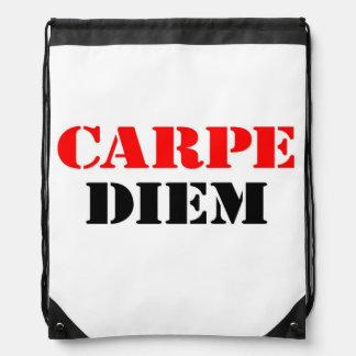Carpe Diem Drawstring Backpacks