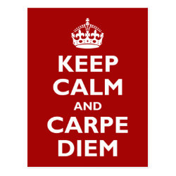 Postcard with Keep Calm and Carpe Diem design
