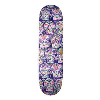 Carpe Diem Purple Bohemian Skulls Skateboard