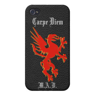 Carpe Diem red dragon on black leather-look iPhone Cover For iPhone 4