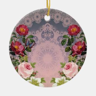 Carpe Diem Rose vintage inspired design Ceramic Ornament