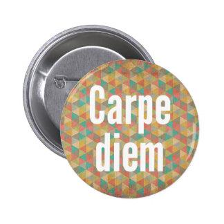 Carpe diem, Seize the day, Colourful Pattern 2 Inch Round Button