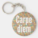 Carpe diem, Seize the day, Colourful Pattern Basic Round Button Keychain