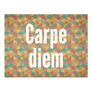 Carpe diem, Seize the day, Colourful Pattern Postcard